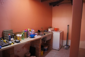 Peach Laundry Room
